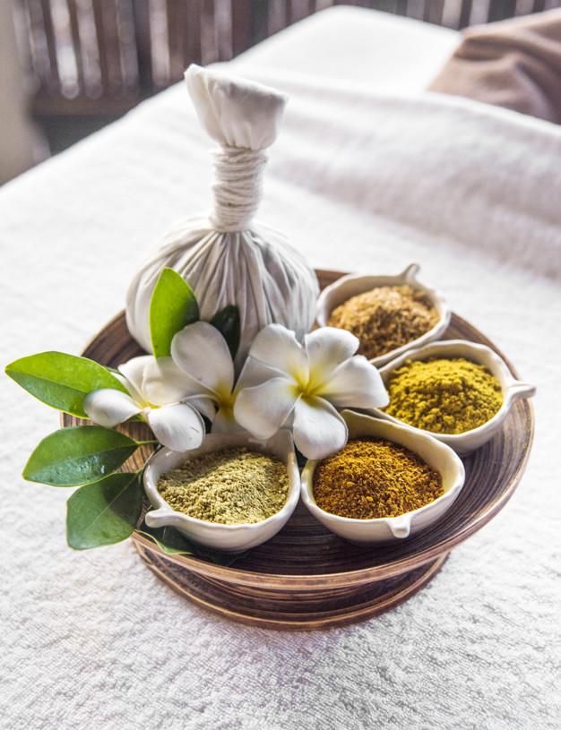Herbal ball hot compress massage